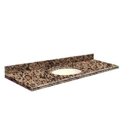 61 in. W x 22 in. D Granite Vanity Top in Baltic Brown with Biscuit Basin