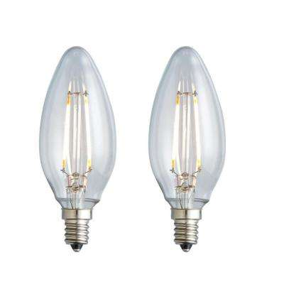 25W Equivalent Warm White B10 Clear Lens Nostalgic Candelabra Blunt Tip Dimmable LED Light Bulb (2-Pack)