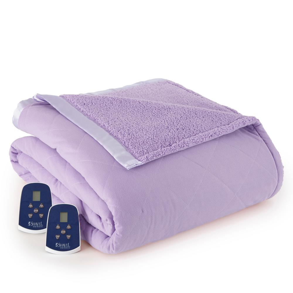 Reverse to Sherpa King Amethyst Electric Heated Blanket