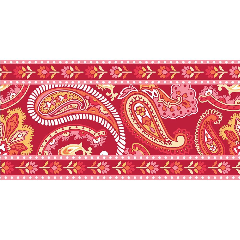 WallPOPs 16 ft. x 6.5 in. Paisley Please Stripe Red/Pink 2-Pack Wall Decal
