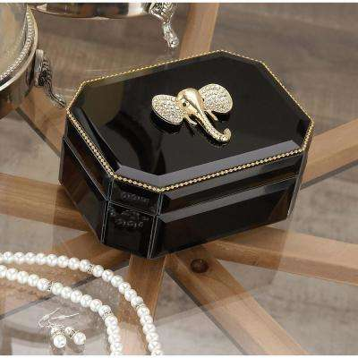 6 in. x 3 in. Wooden Black and Gold Elephant Glass Box