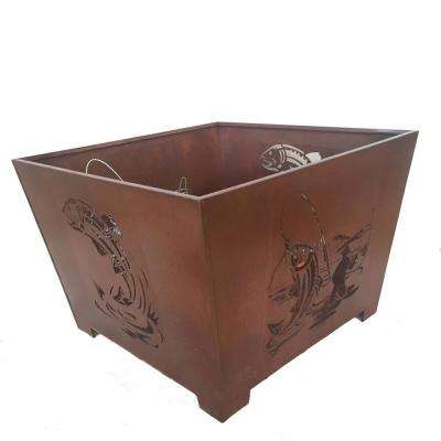 Fisherman 24 in. x 16 in. Square Steel Wood Burning Fire Pit in Rust