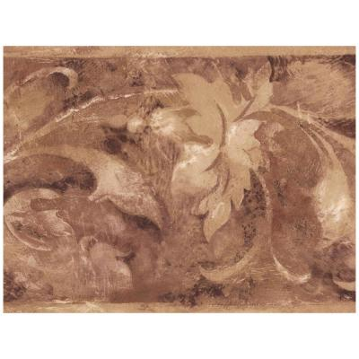 Sepia Beige Abstract Floral Prepasted Wallpaper Border