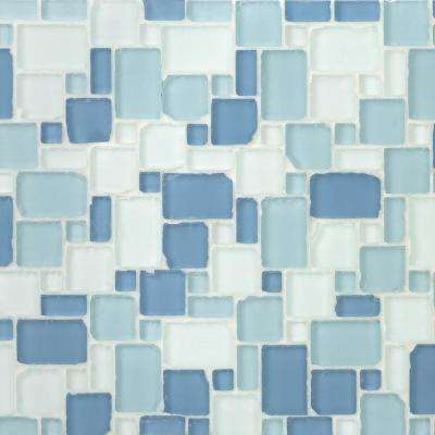 Ocean Wave French Pattern Beached 12 in. x 12 in. x 8 mm Frosted Glass Mosaic Tile
