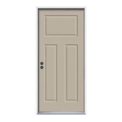 36 in. x 80 in. 3-Panel Craftsman Desert Sand Painted Right-Hand Inswing Steel Prehung Front Door w/Brickmould