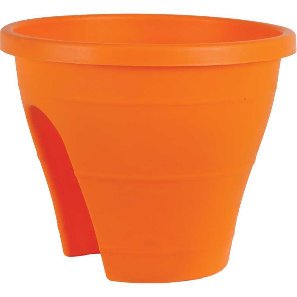 Mela 11-1/2 in. Round Orange Plastic Rail Planter