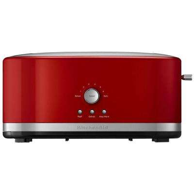 4-Slice Empire Red Long Slot Toaster with Crumb Tray