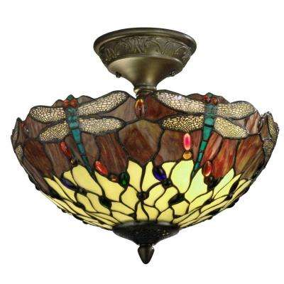 Dragonfly 2-Light Antique Bronze Ceiling Semi-Flush Mount Light