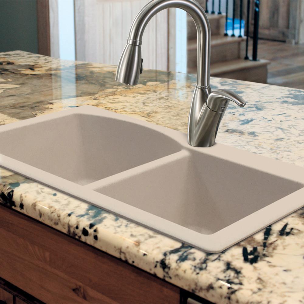 Transolid RTDJ3322-12-CABE Radius Granite 4-Hole Drop-in Double-Bowl Kitchen Sink Espresso 33.5 x 18.5 x 9