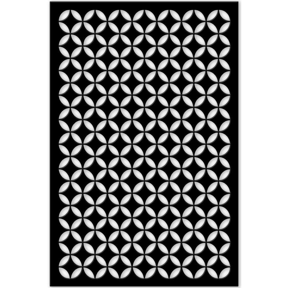Acurio Latticeworks 1/4 in. x 32 in. x 4 ft. Black Moorish Circle Vinyl Decor Panel