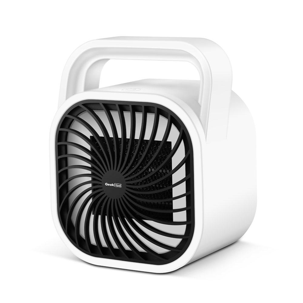 Geek Heat 500-Watt Compact Personal Heater with Carrying Handle, White This small powerful instant heater can be used for home and office. It has very small footprint. It is portable device. Color: White.