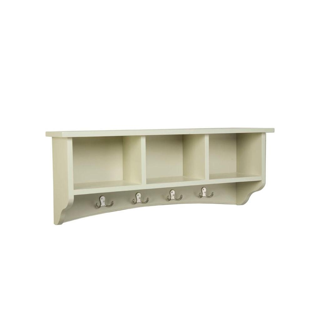 Alaterre Furniture 14 In Shaker Cottage Coat 8 Hooks With Storage Sand