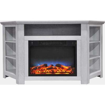 Tyler Park 56 in. Electric Corner Fireplace in White with LED Multi-Color Display