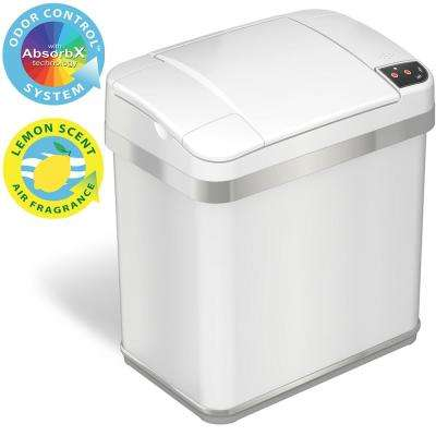 2.5 Gal. Pearl White Touchless Automatic Sensor Trash Can with Odor Filter and Fragrance