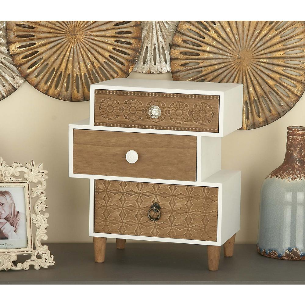 Litton Lane Asymmetrical 3 Drawer Wooden Jewelry Box 85263 The