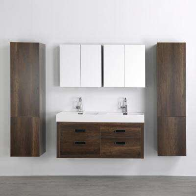 47.2 in. W x 19.3 in. H Bath Vanity in Brown with Resin Vanity Top in White with White Basin and Mirror