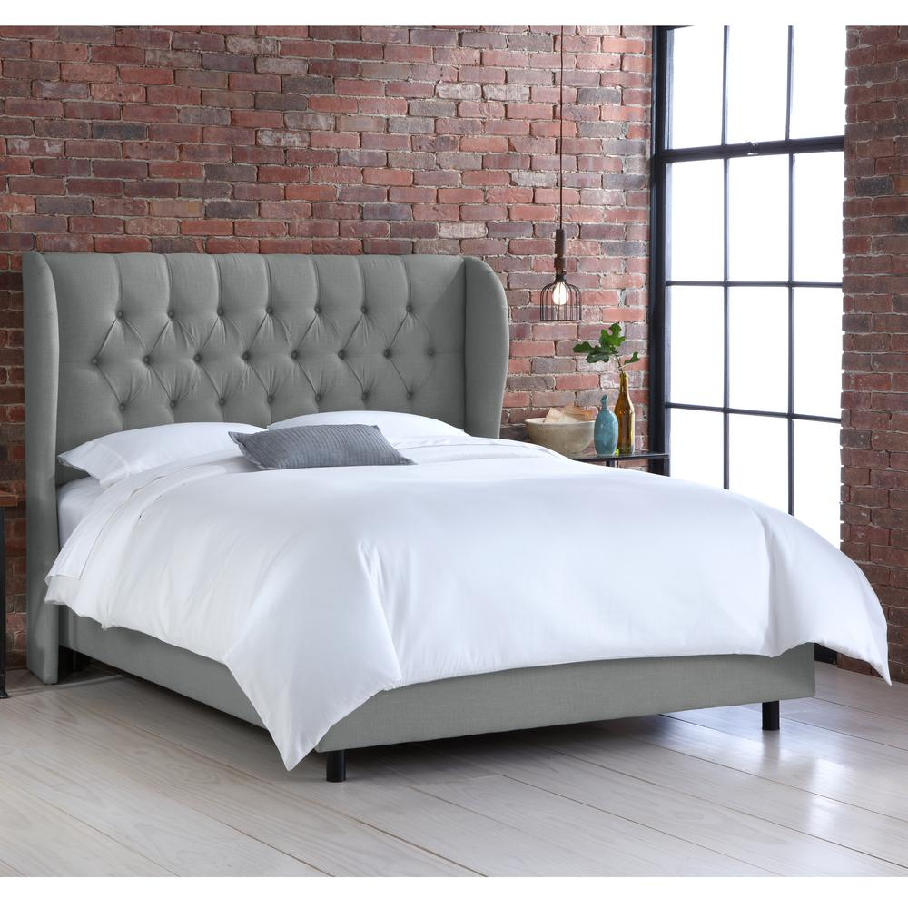 Linen Grey Queen Tufted Wingback Bed-412BEDLNNGR - The Home Depot
