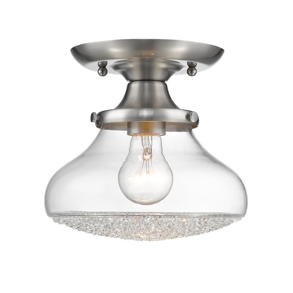 Golden Lighting Asha 1-Light Pewter Semi-Flush Mount Light