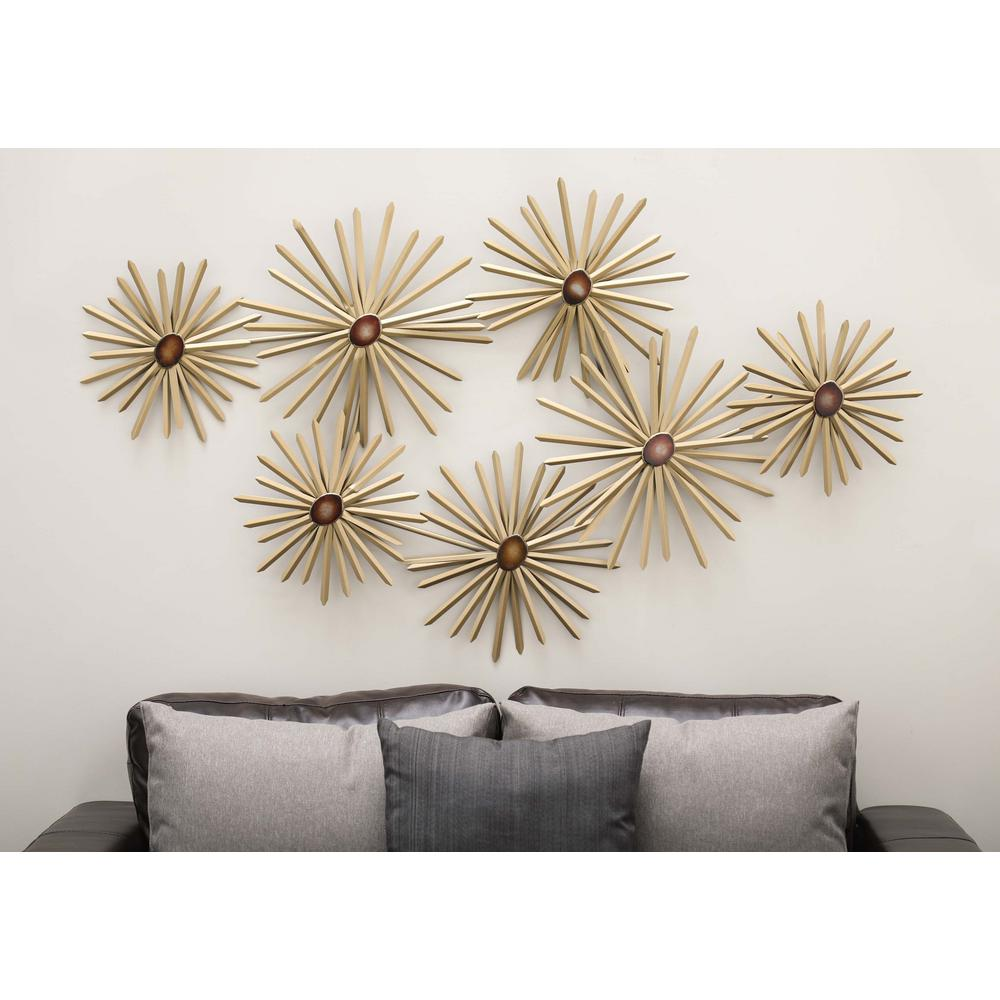 59 in. x 35 in. Modern Iron and Burgundy Resin Spiked Floral Metal ...