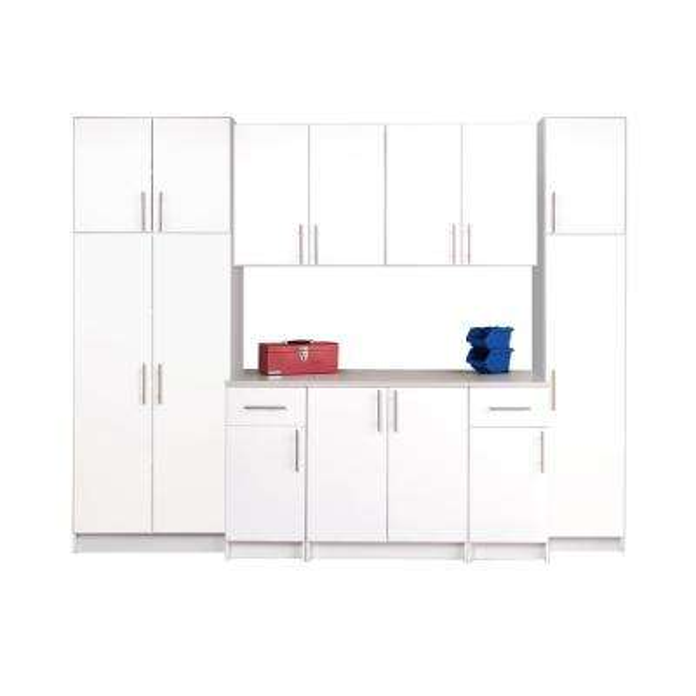 Elite 112 in. W x 89 in. H x 24 in. D Complete Storage Cabinet Set A - White (9-Piece)