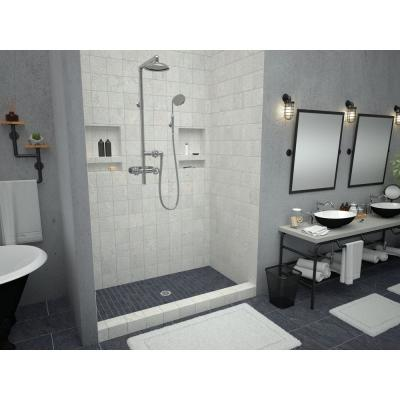 Redi Base 34 in. x 60 in. Single Threshold Shower Base with Center Drain and Polished Chrome Drain Plate
