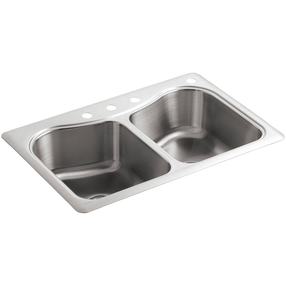 kohler staccato drop-in stainless steel 33 in. double bowl 4-hole