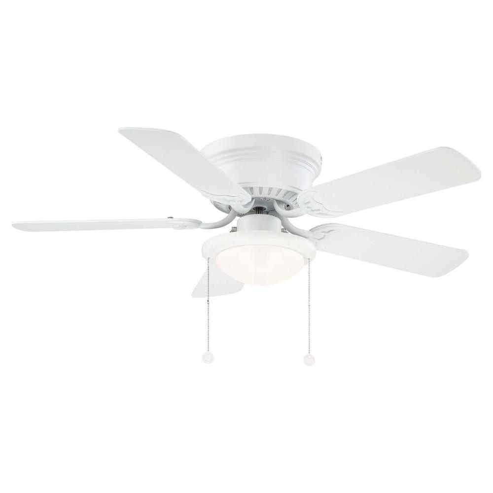 Hugger 44 in. LED Matte White Ceiling Fan