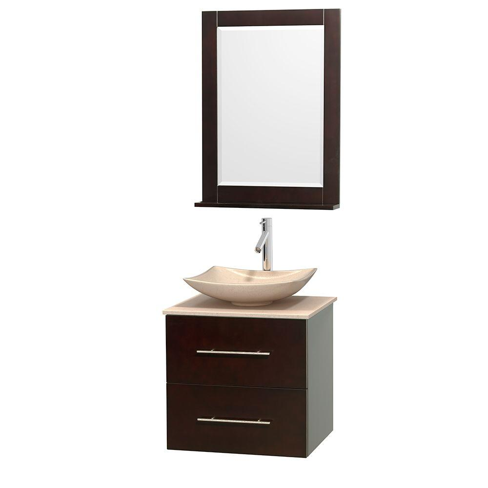 Wyndham Collection Centra 24 in. Vanity in Espresso with Marble Vanity Top in Ivory, Marble Sink and 24 in. Mirror