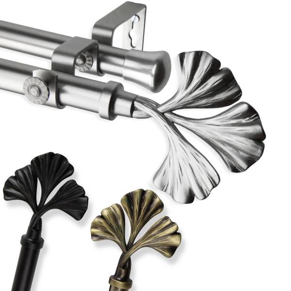 120 in. - 170 in. Telescoping Double Curtain Rod in Black with Fortune Finial