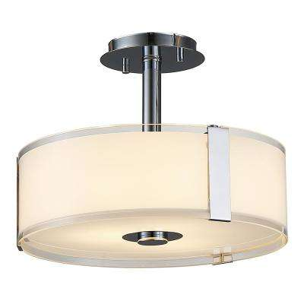 Bailey II 3-Light Chrome Semi-Flush Mount Light