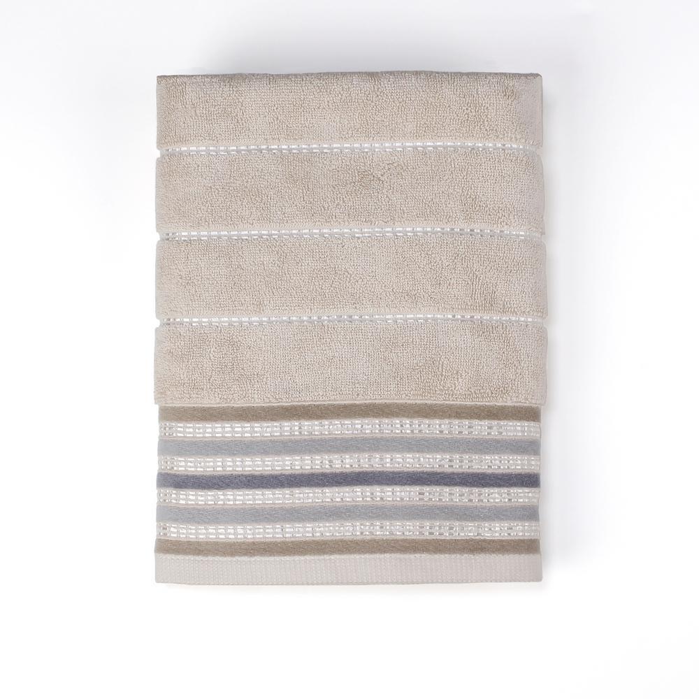 Colorware Stripe Cotton Bath Towel in Neutral