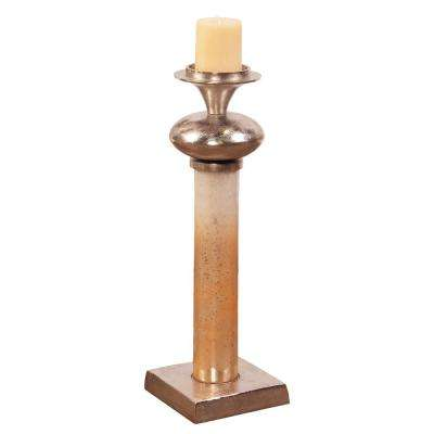 Caramelized Antique Glass Pillar Candle Holder Small