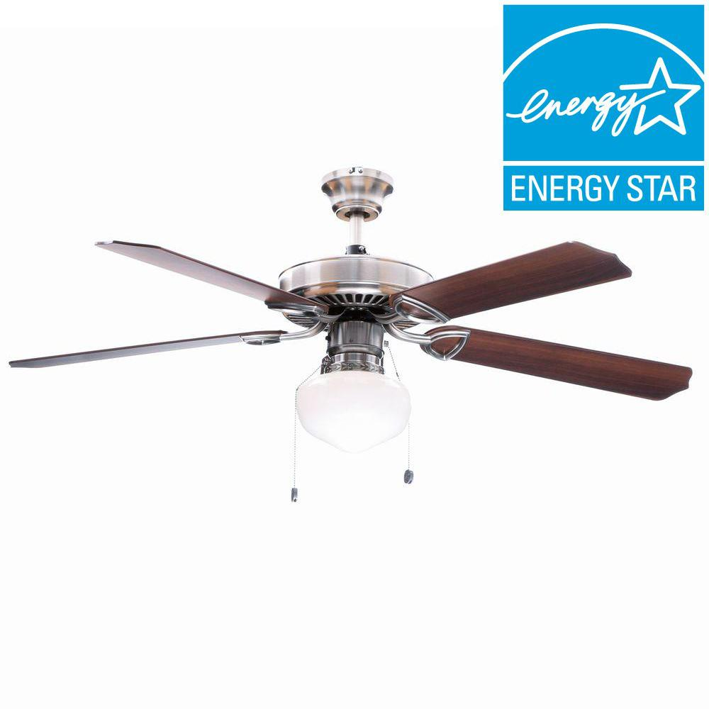 Hampton Bay Tri-Mount 52 in. Indoor Brushed Nickel Ceiling Fan with Light Kit