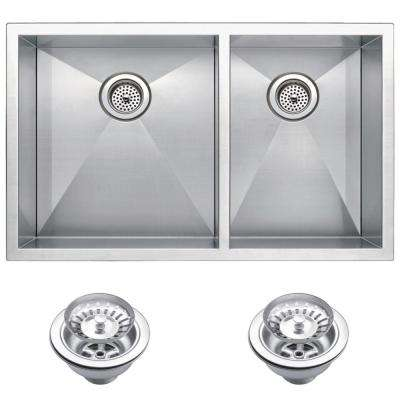 Undermount Stainless Steel 33 in. 60/40 Double Bowl Kitchen Sink with Strainer in Satin
