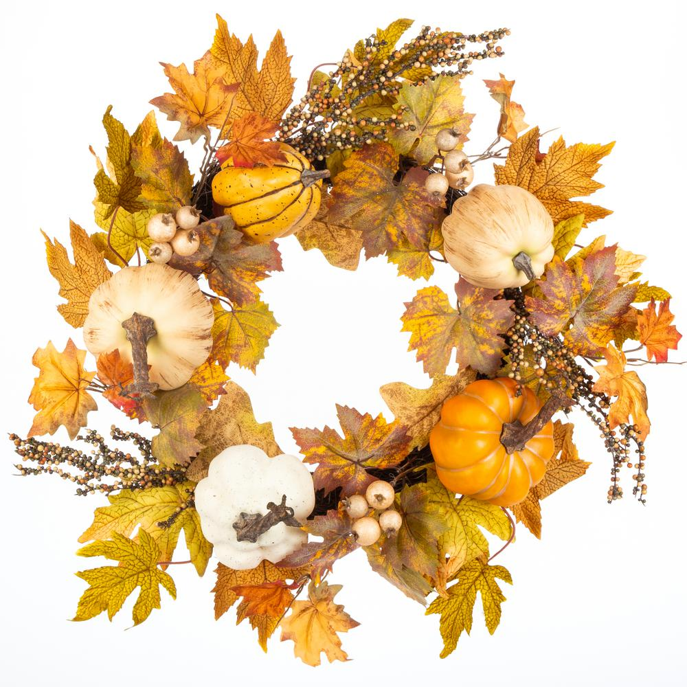 Home Accents Holiday 22 in. Harvest Pumpkin and Maple Leaf Wreath