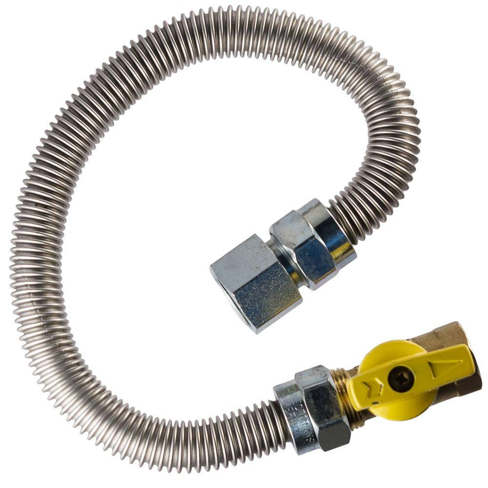 HOME-FLEX 1/2 in. FIP x 1/2 in. FIP Gas Valve x 24 in. Range Connector 5/8 in O.D.