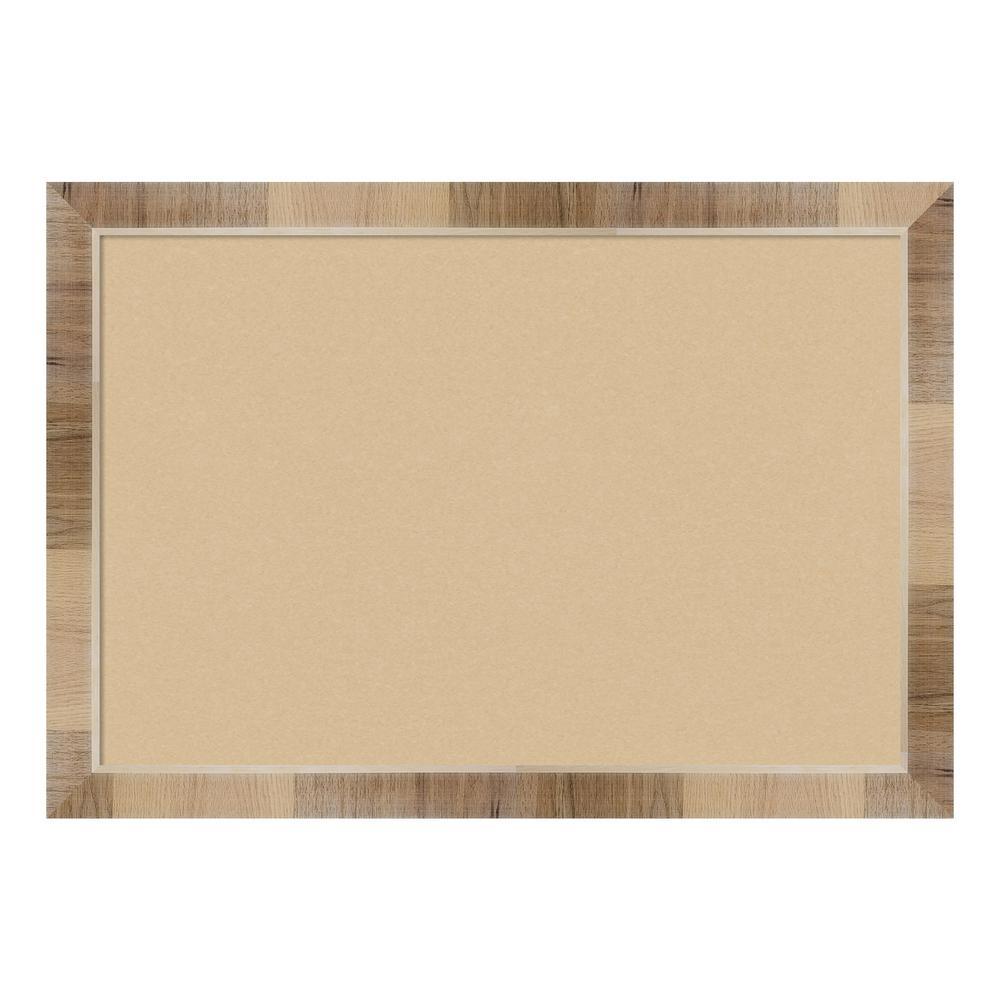 Natural White Wash Framed Beige Cork Memo Board