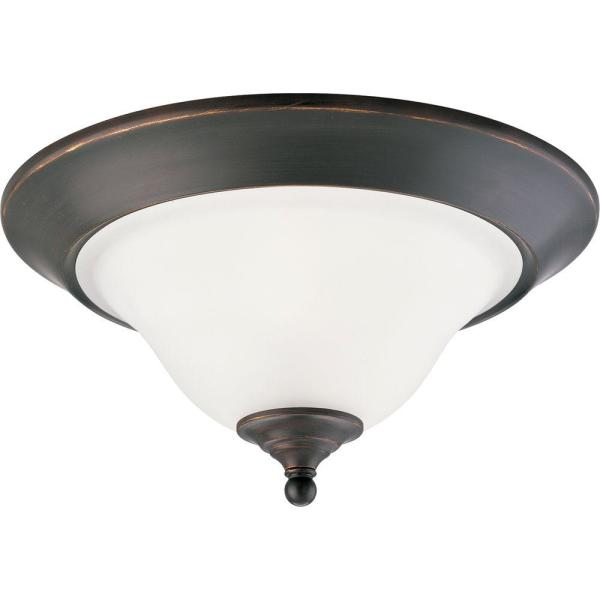 Trinity 2-Light Antique Bronze Flush Mount with Etched Glass