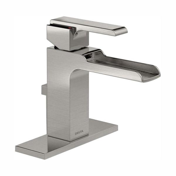 Ara Single Hole Single-Handle Open Channel Spout Bathroom Faucet with Metal Drain Assembly in Stainless