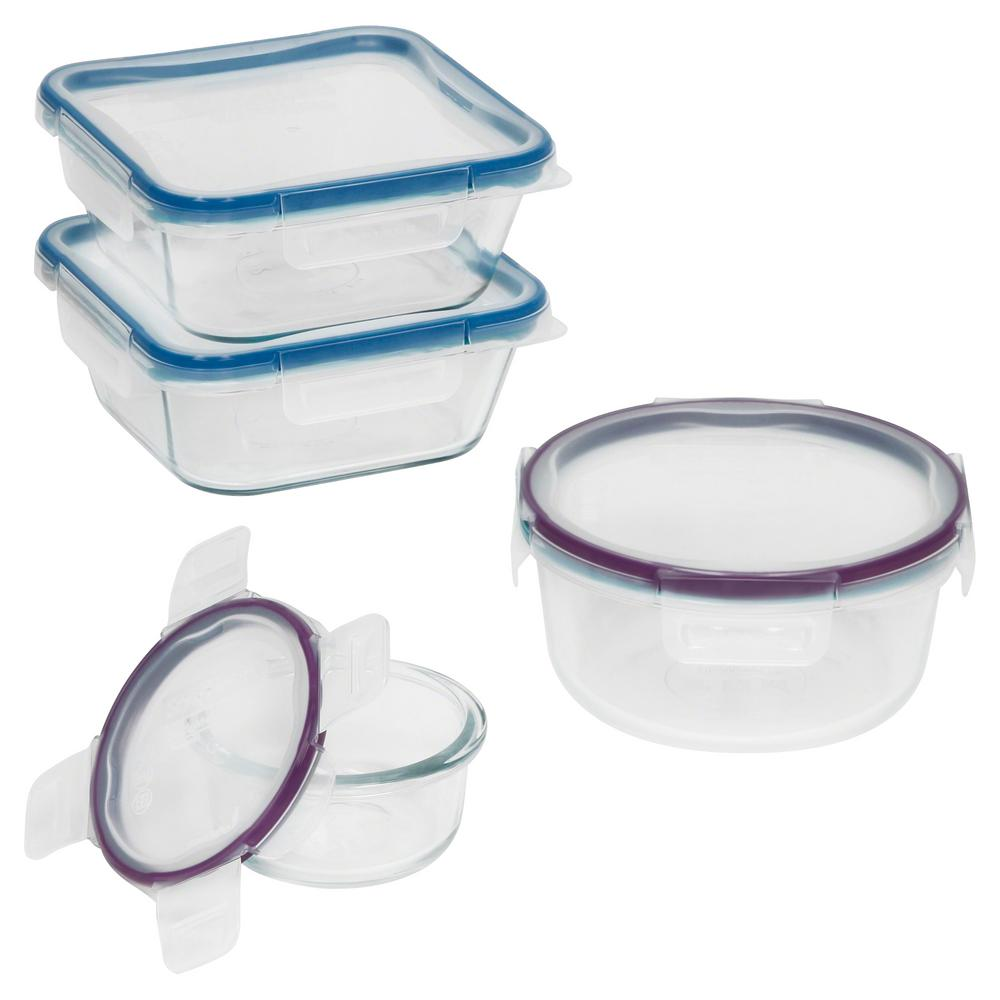Total Organizing Solutions: Snapware Total Solutions 8-Piece Glass Storage Set-1109330