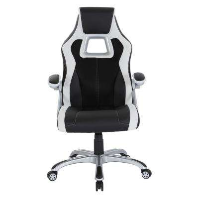 Race Chair in Black with White Trim, White Stitching and Silver Base