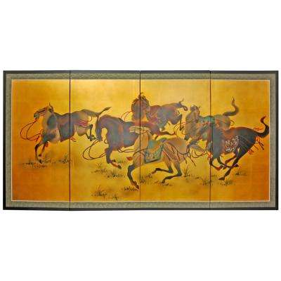 "36 in. x 72 in. ""Riders in the Storm on Gold Leaf"" Wall Art"