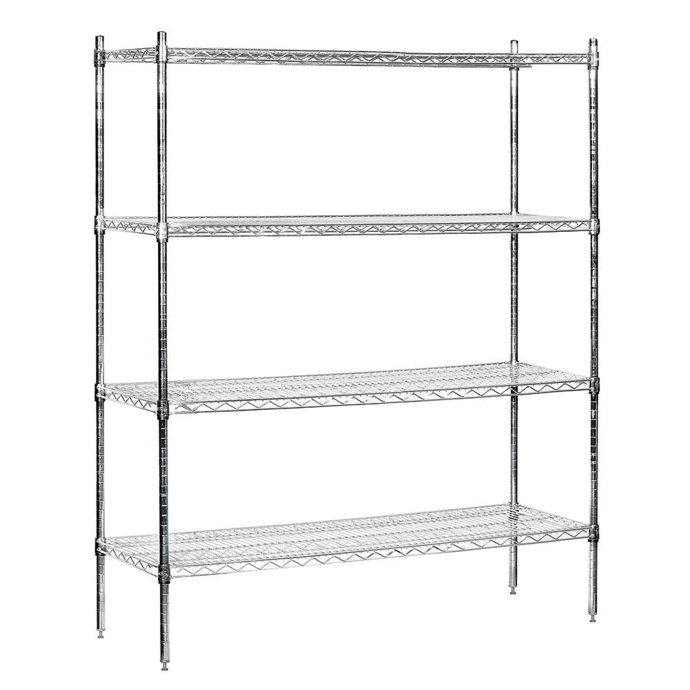 Salsbury Industries 9600S Series 60 in. W x 74 in. H x 18 in. D Industrial Grade Welded Wire Stationary Wire Shelving in Chrome