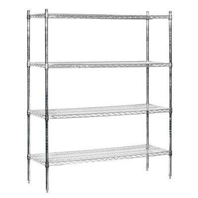 9600S Series 60 in. W x 74 in. H x 18 in. D Industrial Grade Welded Wire Stationary Wire Shelving in Chrome