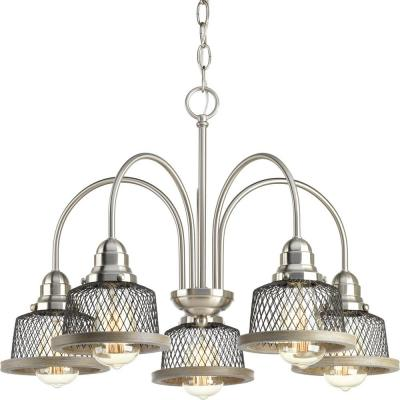 Tilley Collection 5-Light Brushed Nickel Chandelier with Shade