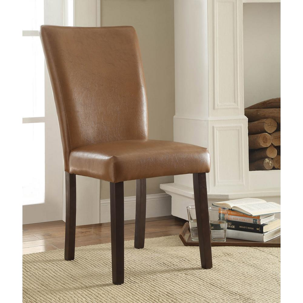 Stabilyne Havana Brown Polyurethane Parsons Side Chair (Set Of 2)