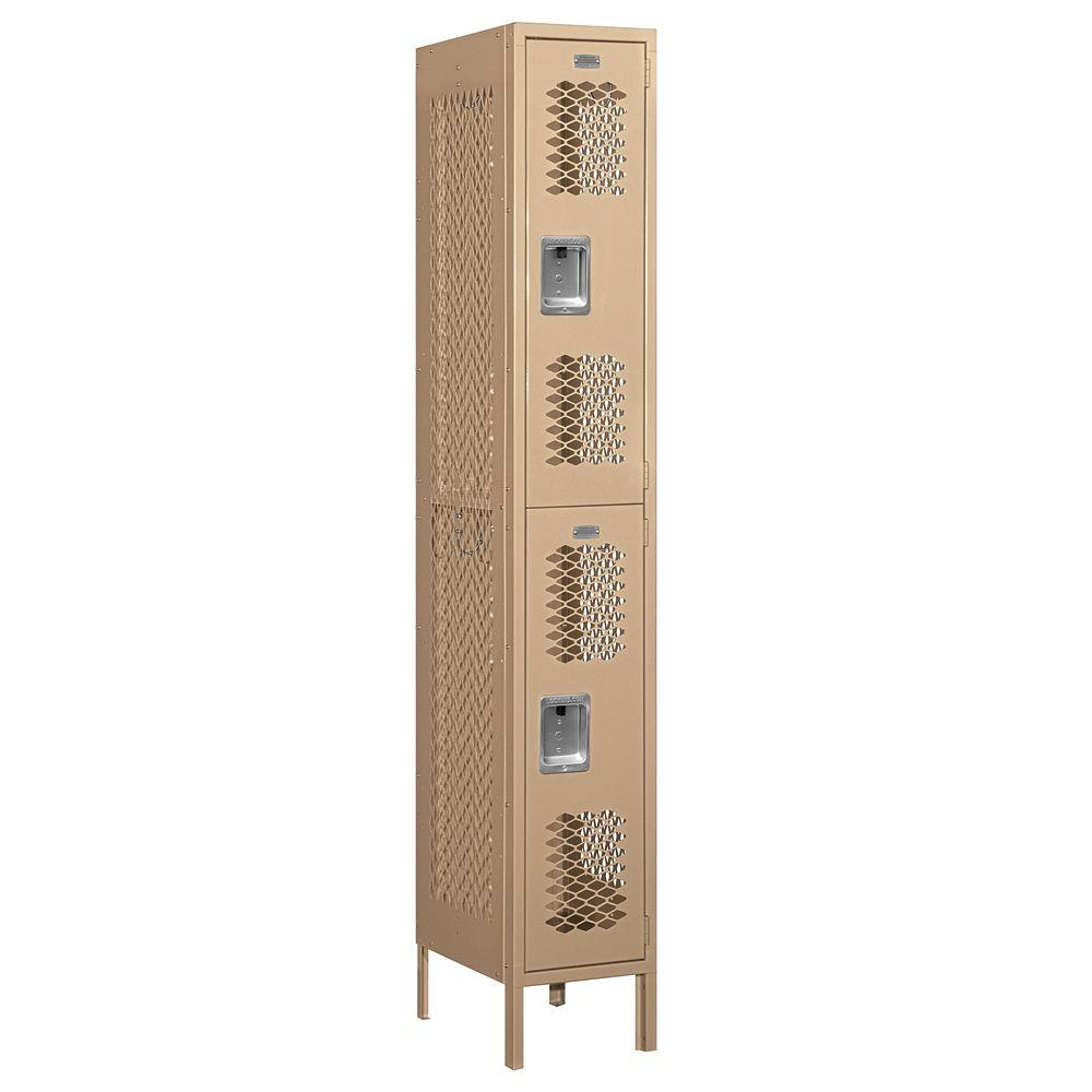 Salsbury Industries 72000 Series 12 in. W x 78 in. H x 18 in. D Double Tier Vented Metal Locker Assembled in Tan