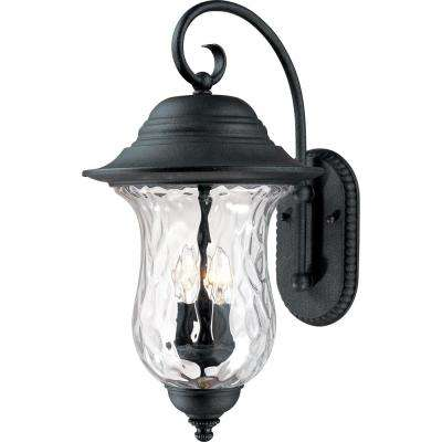 3-Light Antique Iron Outdoor Wall Mount Sconce