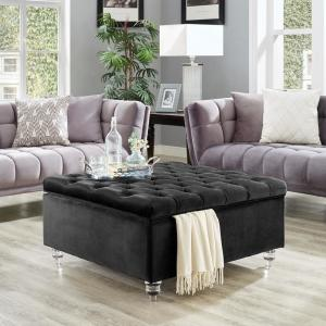 Groovy Inspired Home Saige Black Velvet Tufted Square Acrylic Leg Ncnpc Chair Design For Home Ncnpcorg