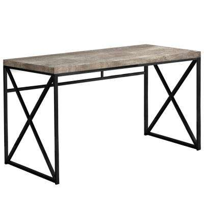 Jasmine 1-Piece Taupe and Black Computer Desk